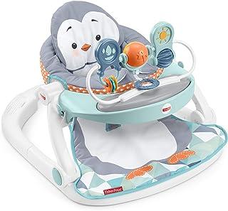 Fisher-Price Asiento de piso con bandeja, silla portátil con temática de pingüino con bandeja para aperitivos y juguetes