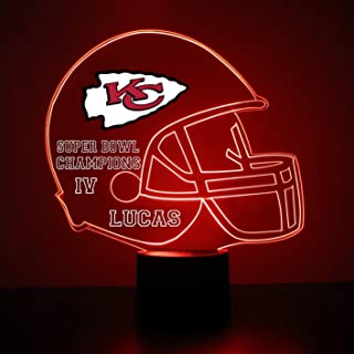 Mirror Magic Light Up LED Lamp - Football Helmet Night Light for Bedroom with Free Personalization - Features Licensed Decal and Remote (Kansas City Chiefs)