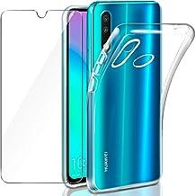 Leathlux Cover Huawei P30 Lite Custodia + Pellicola Vetro Temperato, Morbido Trasparente Silicone Custodie Protettivo TPU Gel Sottile Cover per Huawei P30 Lite