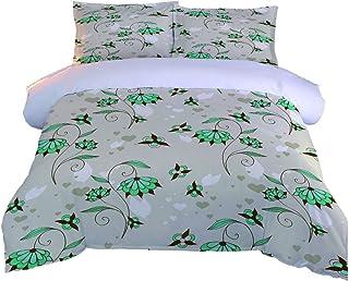WYwwyy Funda Nórdica 3 Pcs (220 * 230Cm) Flores Creativas Verdes Colcha Estampada 3D Juego De Ropa De Cama Fundas De Edredón Nórdico/Fundas De Almohada/Sábanas para Niños Niña Cama