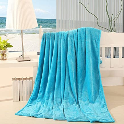 """Grapy Lightweight Soft Warm Fuzzy Blanket Solid Color Microfiber Flannel Fleece Coral Velvet Bed Blanket Beach Throw Blanket for Couch and Sofa Queen Size Sky Blue 79""""x 91"""""""