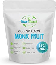 NatriSweet Monk Fruit Extract 3.5oz (100g) 322 Servings, Pure, Zero Calorie, Zero Carb, Natural Sweetener, Sugar Alternati...