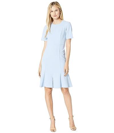 Donna Morgan Crepe Short Split Sleeve Fit and Flare Dress (Powder Blue) Women