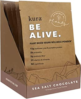 Kura Plant Based Protein Wellness Powder, Sea Salt Chocolate, 15g Protein, 23 Vitamins & Minerals, NZ Superfoods, Non-GMO, Gluten Free, Stevia Free, New Zealand Born (10 Pk Single Serve Box,1.2 Ounce)