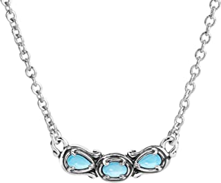 Sterling Silver Multi Gemstone Choice of 8 Different Colors 3 Stone Necklace 16 to 18 Inch