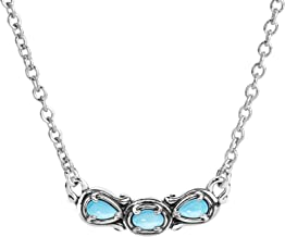 Carolyn Pollack Sterling Silver Multi Gemstone Choice of 8 Different Colors 3 Stone Necklace 16 to 18 Inch