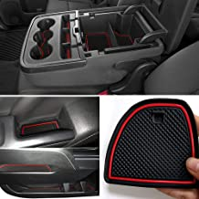 Auovo Anti-Dust Custom Fit Cup and Center Console Liner Accessories for 2018 Chevrolet Silverado 1500 LT Double Cab Interior Door Compartment Liner Mats Inserts(Pack of 24) (Red)