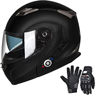 Bluetooth Motorcycle Helmet Modular Full Face Helmets DOT Approved Helmet with Wireless Intercom Headsets for Men Women(Matte Black, Medium)