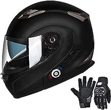 Bluetooth Motorcycle Helmet Modular Full Face Helmets DOT Approved Helmet with Wireless Intercom Headsets for Men Women(Matte Black, Medium)