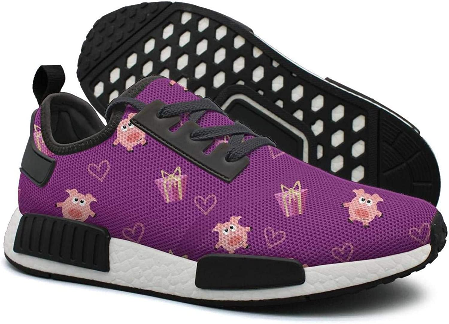 Purple Romantic Pig and Gift Box Women's Cool Lightweight Sneaker Gym Outdoor Running shoes