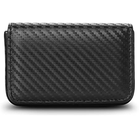 GoFree Business Card Holder Case – Visiting Card Case Holder with Magnetic Lock (Carbon Fiber Black)
