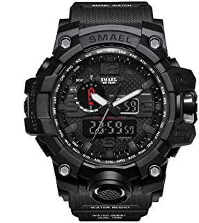 SMAEL Men's Sports Analog Quartz Watch Dual Display Waterproof Digital Watches with LED Backlight Relogio Masculino