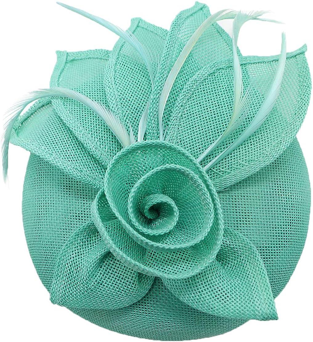 Coolwife Fascinators Hat for Women Sinamay Pillbox Flower Tea Party Derby Wedding Headwear