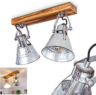 Lámpara de techo Berkeley Dark, ajustable, de metal y madera en zinc, 2 focos, pantalla giratoria y orientable, 4 casquillos E27, máx. Foco de 60 W, diseño retro, adecuado para LED