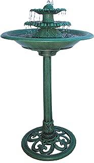 Alpine Corporation 3-Tiered Pedestal Water Fountain and Bird Bath - Resin Vintage Decor for Garden, Patio, Deck, Porch - Green