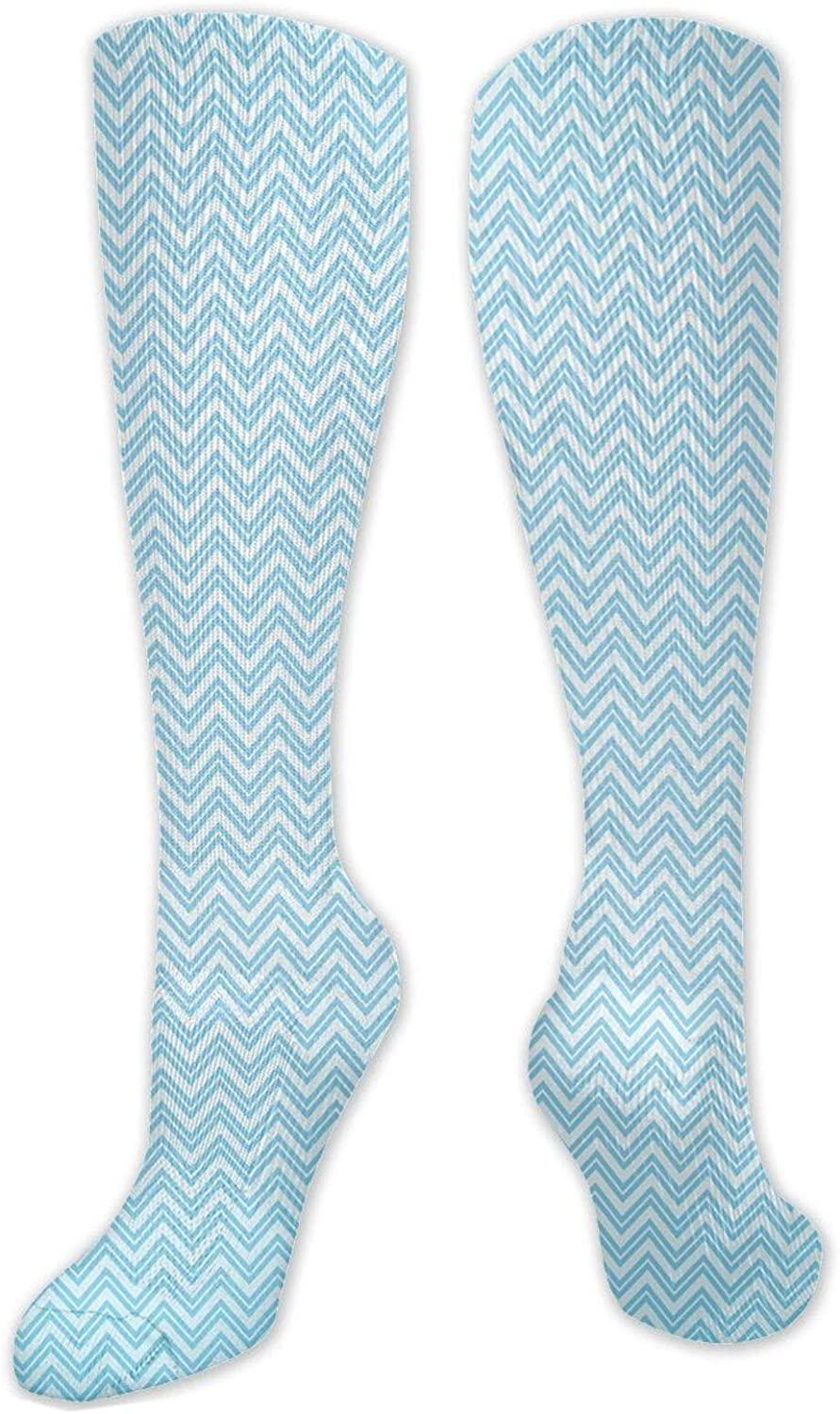 Long Cotton Thigh High Socks, Ocean Layers Blue Colored Zig