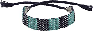 El Allure Teal and Navy Blue Preciosa Jablonex Seed Bead Native American Style Inspired Seed Beaded Bracelet Geometric Patterned Handmade Delicate Costume Fashion Unique Bracelet for Women