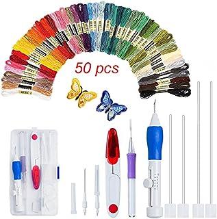 FADDR 50 Stück Magic Embroidery Pen Kit, Stickerei Stitching Punch Needles Craft-Tool-Set-Kombination, einschließlich 50 Farbfäden für DIY Nähen Kreuzstich