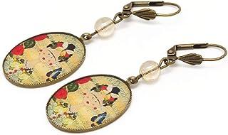 Orecchini resina Frida farfalla blu giallo rosso verde ottone bronzo perla regali personalizzati Natale cerimonia di nozze...