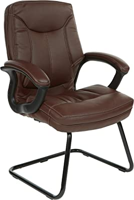 Office Star Bonded Leather Seat and Back Visitor's Chair with Padded Arms and Contrast Stitching, Chocolate