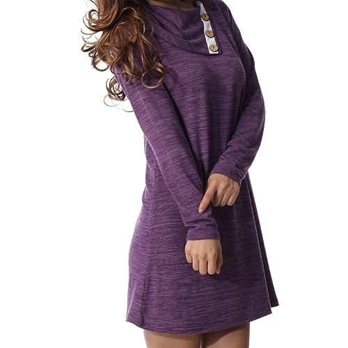 328d9c5aa0 levaca Women s Long Sleeve Button Deco Neck Loose Casual Short T Shirt Dress