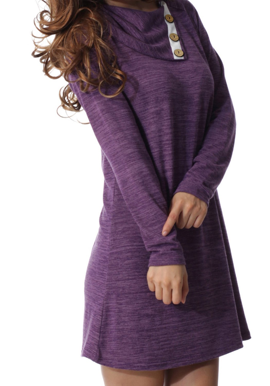 Sweater Dress - Women Crewneck Long Sleeve Tie Sweater Dress