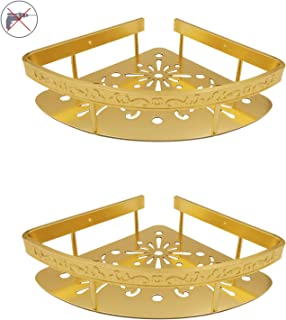StrongTools Bathroom Shower Shelf Golden Corner Wall Mounted Shower Caddy Gold Aluminum Alloy Triangle Organizer for Kitchen No Drill 2 Packs(Triangle-Gold)