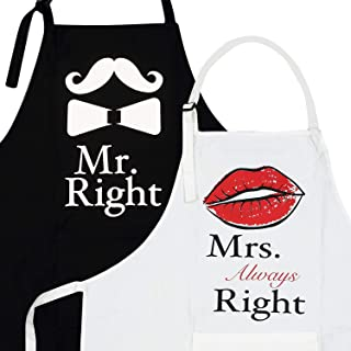 2-Piece Kitchen Apron Set Mr. Right and Mrs. Always Right - Matching Engagement Wedding Anniversary Bridal Shower Gift for Bride