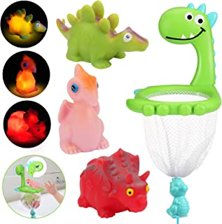 Hazms Toddler Bath Toys, Light Up Floating Dinosaurs Bath Toys for Baby Boys Girls, Dinosaurs Grabber with Suction Cup 3 S...