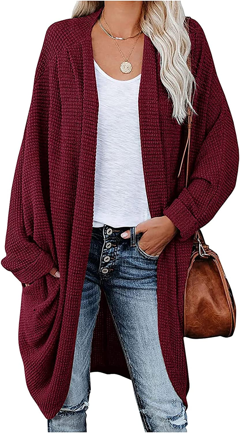 Goldweather Women Open Front Chunky Cable Knit Cardigan Casual Lightweight Oversized Long Cardigans Sweater Coat Shrugs Tops