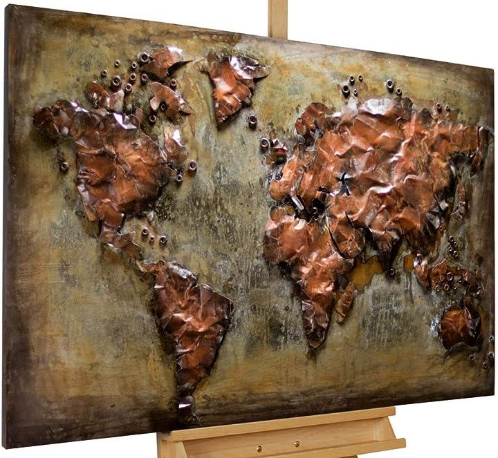 Quadro lussuoso scultura plastico murale 120x80x4cm mappa terra continenti kunstloft KL01920