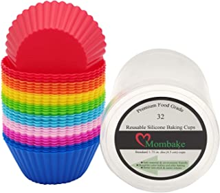 Mombake Standard Reusable Silicone Cupcake Liners/Baking Cups BPA Free 8 Rainbow Bright Colors, 32-Count