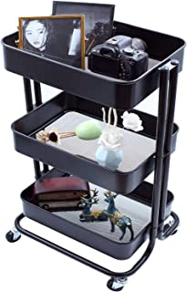 Ovicar 3-Tier Metal Rolling Utility Carts, Heavy-Duty Storage Shelves, Trolley Organizer with Handles and Wheels for Office Home Kitchen Bathroom Organization, Black
