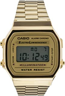 Casio Unisex-Adult Quartz Watch, Digital Display and Stainless Steel Strap A168WG-9E