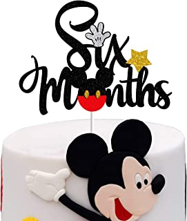 Mickey Six Months Cake Topper,Sparkle Mickey Mouse 1/2 Half Birthday Baby Shower Party Decorations