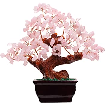 Parma77 Feng Shui Natural Rose Pink Quartz Crystal Money Tree Bonsai Style Decoration for Wealth and Luck