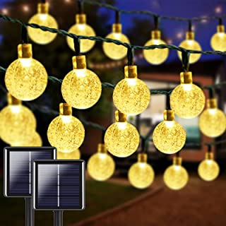 2-Pack 100 LED 32FT Crystal Globe Solar String Lights, Super Bright Solar Christmas Lights Outdoor, Waterproof 8 Lighting ...
