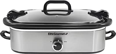 Maxi-Matic MST-5240SS Electric Ceramic Slow Cooker, Locking Lid, Keep Warm Oven-Safe Casserole Pan, stainless steel, 3.5 quart