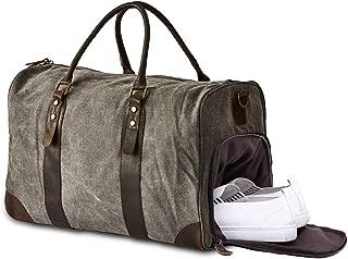 BRASS TACKS LEATHERCRAFT Heavy Duty Canvas and Genuine Leather Duffel Gym Bag w/Shoulder Strap