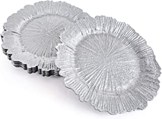 MAONAME Round 13 Inch Plastic Charger Plates, Silver Service Plate for Kitchen, Dining, Wedding, Elegant Decoration (6, Silver)