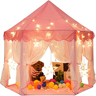 Mumoo Bear Princess Castle Tent for Girls Fairy Play Tents for Kids Hexagon Playhouse for Children or Toddlers Indoor or O...