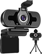 HD Webcam with Privacy Cover &Tripod,Webcam with Microphone 1080P,Streaming Computer Web Camera with 110° Wide View Angle,...
