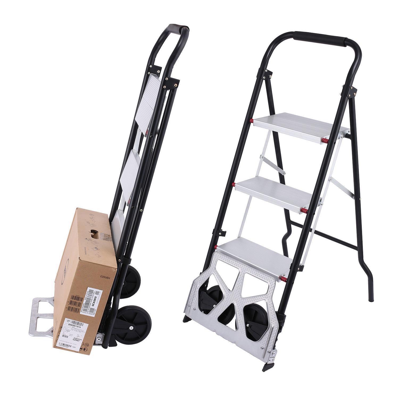 loukou 2 en 1 3-steps escalera carro convertible paso escalera plegable carretilla de mano con ruedas: Amazon.es: Oficina y papelería