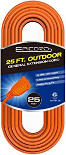 EPICORD 16/3 Vinyl Outdoor long Extension Cord 3 prong Heavy Duty for Indoor and Outdoor (25 Feet Orange)