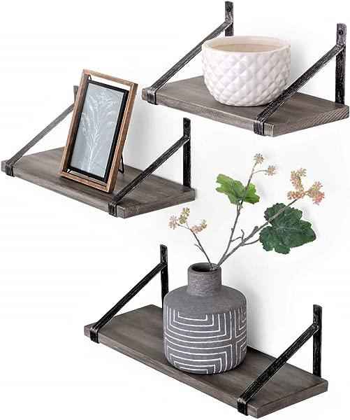 Under Stated Wall Mounted Designer Hanging Living Room Bedroom Bathroom Floating Shelves Rustic Grey Set Of 3