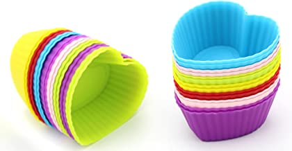 Set of 30 - ZICOME Reusable Heart Shaped Silicone Baking Cups / Cupcake Liners
