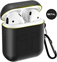 Airpods Case, Qcoqce Funda Airpods en Metal, Ligero Impermeable Antipolvo Airpods Accesorios con Protective Skin Silicona Metalica para Apple Airpods (Negro)