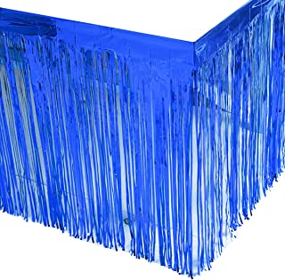 Leegleri 2 Pack Blue Metallic Foil Fringe Table Skirt Tinsel Party Plastic Table Skirt Banner for Parade Floats Mardi Gras Party Decoration(L108 inH 29in)