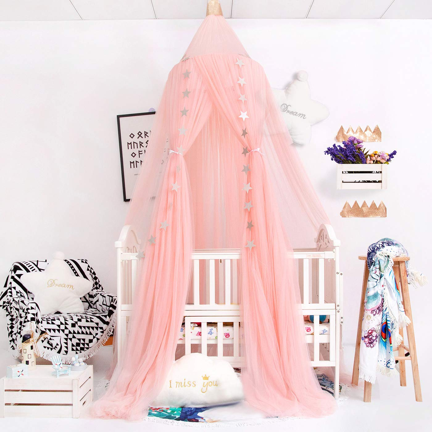 VERNASSA Canopy for Kids Bed, Bed Canopy, Xmas Gifts Princess Mosquito Netting Dome for Baby Crib Nook Castle Game Tent Nursery Play Room Christmas Decor (Pink)