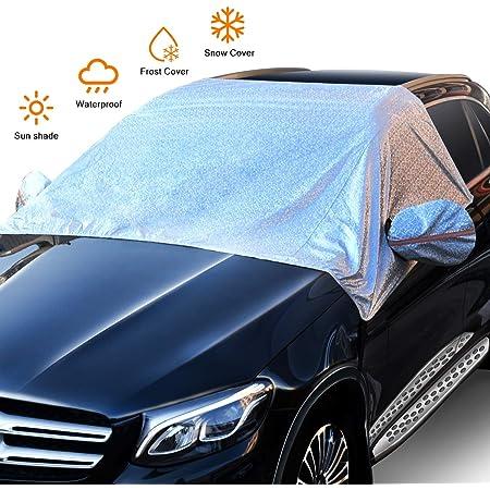 Zhsx Frontscheibenabdeckung Auto Winter Wasserdicht Windschutzscheibe Abdeckung Windschutz Eisschutz Abdeckung 158cm 249cm Für Standard Auto Silber Auto